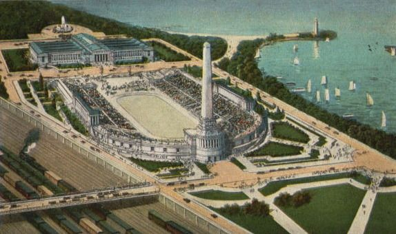 Early proposal for Grant Park Stadium (later named Soldier Field), 1921, Chicago. Of course, the final result was fairly close to this design, save the enormous obelisk.