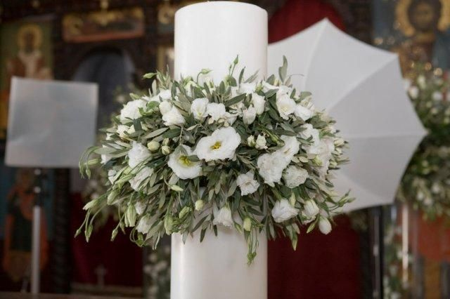Lambades white wedding candles with olive and lysianthus. event design StellaAndMoscha.com