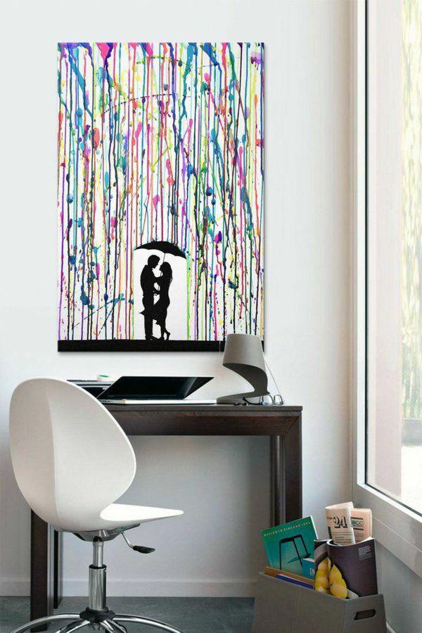 liebespaar diy moderne Leinwandbilder regen