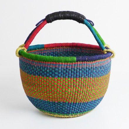 African Market Basket - Green, Red & Blue Weave