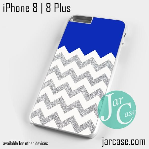 Navy Blue Silver Glitter Chevron Phone case for iPhone 8 | 8 Plus