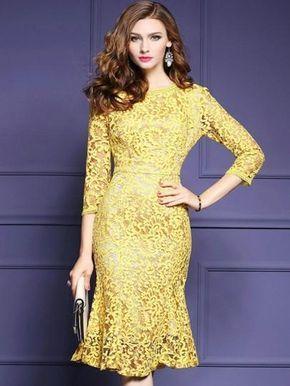 ... Dress Length  Knee-Length Sleeve Length  Three-Quarter Sleeve Sleeve  Type  Regular Neckline  Round Neck Combination Type  Single Waist Line  Mid- Waist ... 4f7b3628b49b
