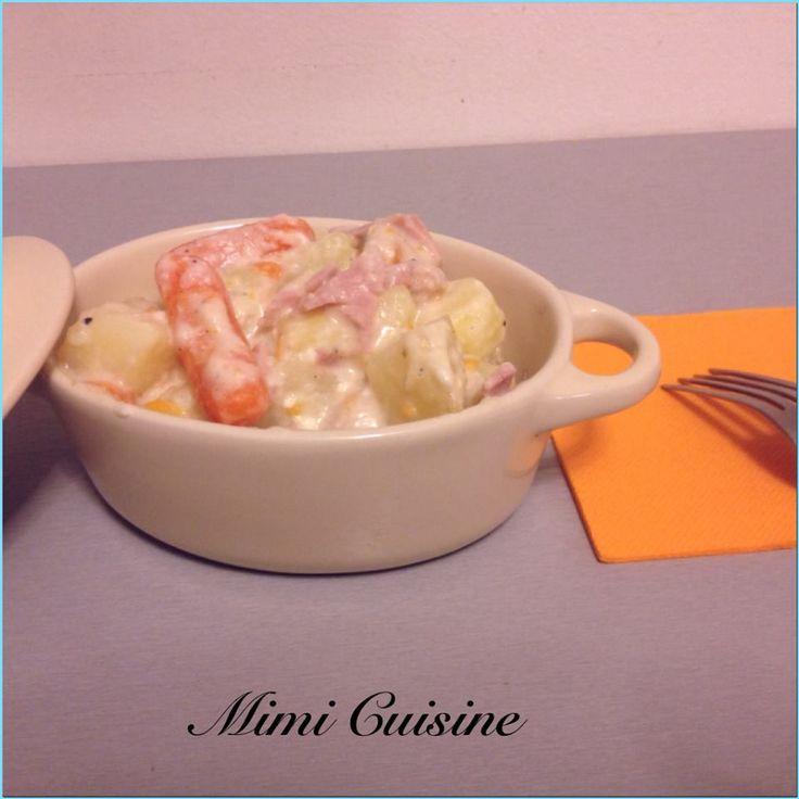Pommes de terre carottes jambon et sa sauce au carré frais Cookeo de chez Moulinex. Retrouvez pleins de recettes faites au Cookeo sur Mimi Cuisine