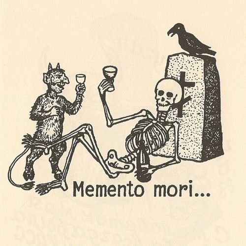 Most popular tags for this image include: memento mori, Devil, black and white, skeleton and chupatelas