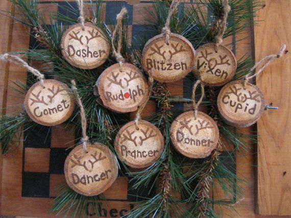 Deer ornaments-9 Deer Tree Slice Christmas Ornaments-Reindeer Wood Slice Ornaments-Hand Painted Tree Slices-Woodland Ornaments