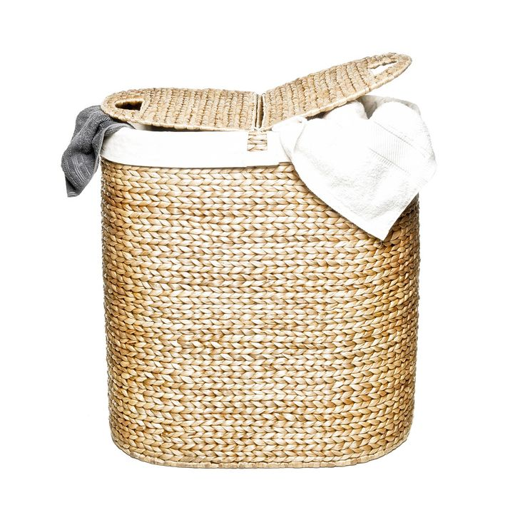 An attractive double hamper for the bedroom. Seville Classics Hand-woven Oval Hyacinth Double Hamper (Overstock.com)