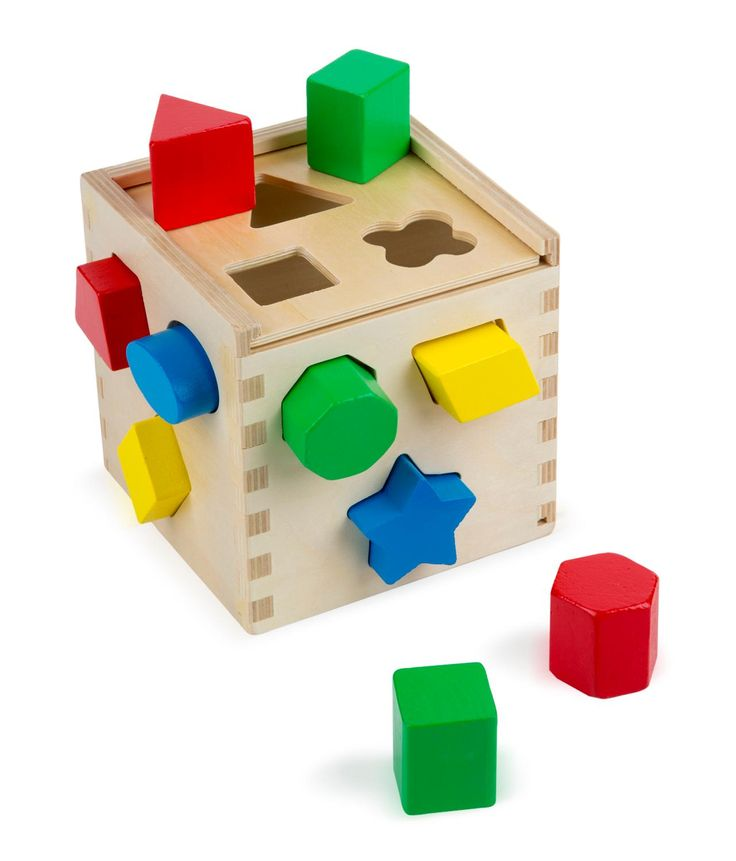 Wood shape sorting cube for 6 months and older. toys4mykids.com