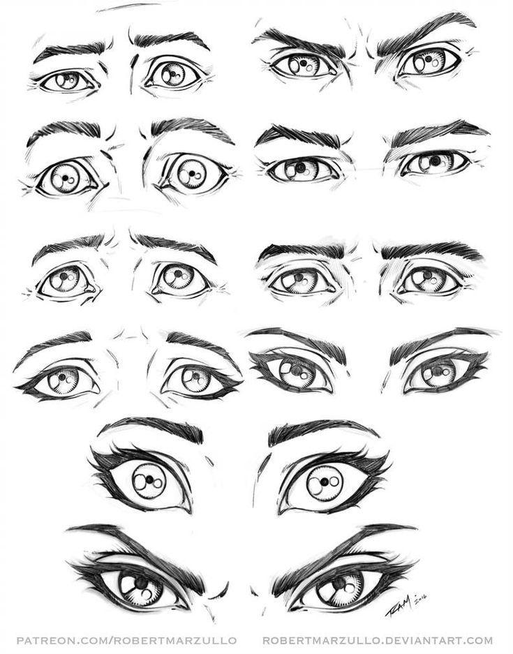 Augenausdrücke männlich und weiblich von rober … #DrawingTechniques Von robertmarzullo