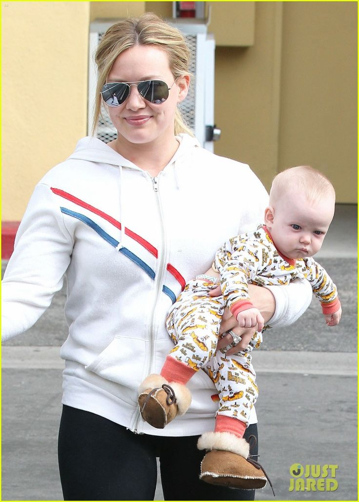 Hilary Duff stepping out with her adorable Mini-tonka fan Luca sporting his cute & cozy Genuine Sheepskin Booties!