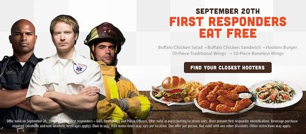 Free Meal For First Responders at Hooters Today!! - http://www.swaggrabber.com/?p=307624