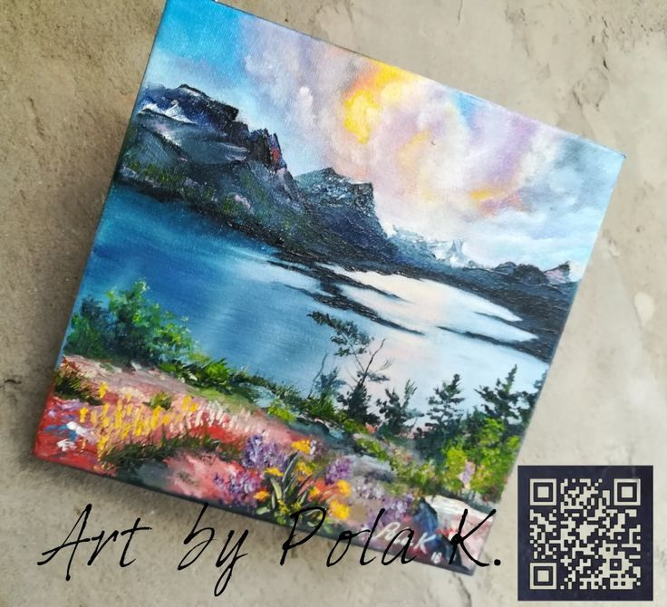 Sunset Small Painting Original On Canvas Mountain Lake Landscape
