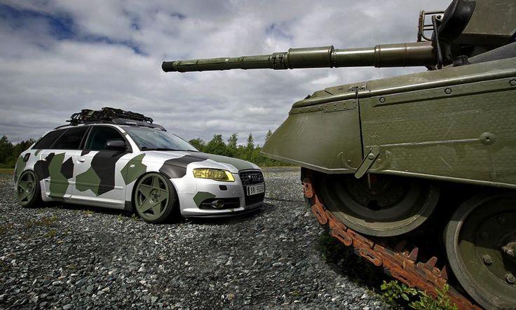 Tank Vs Slammed Audi A4 In Camouflage Ft Laminx Yellow