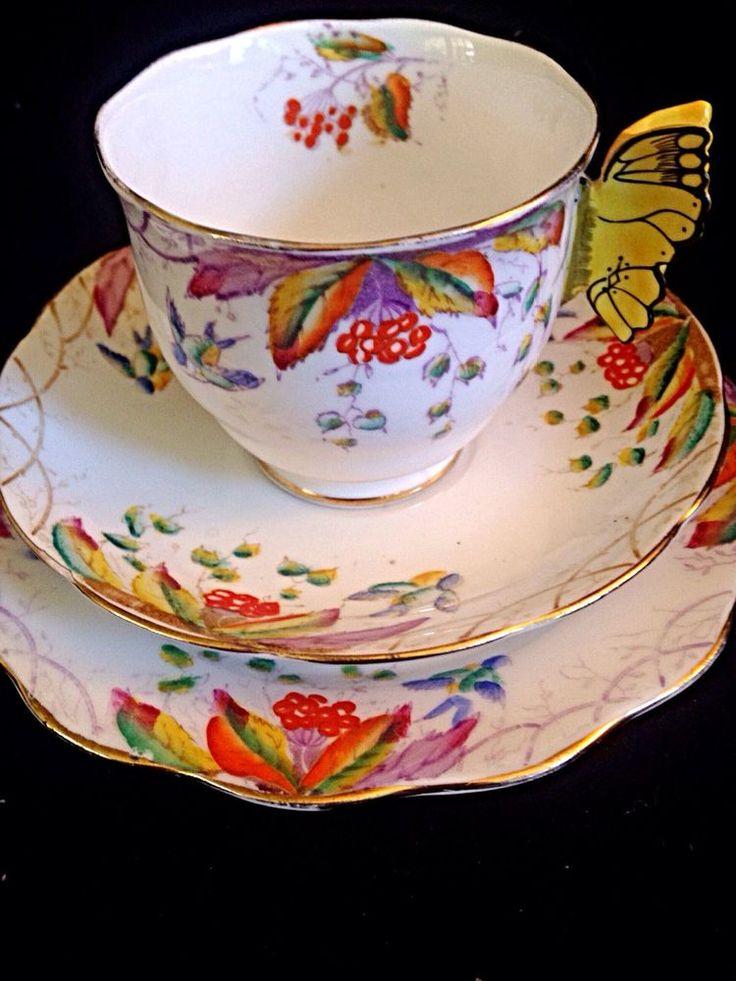 Royal Albert Butterfly Handle Virginia Tea Cup Saucer ~ Plate Trio & 1507 best Tea Cup Crazy! images on Pinterest | Tea time Tea pots ...