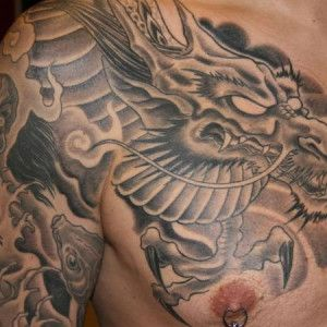 Chest Japanese dragon tattoo