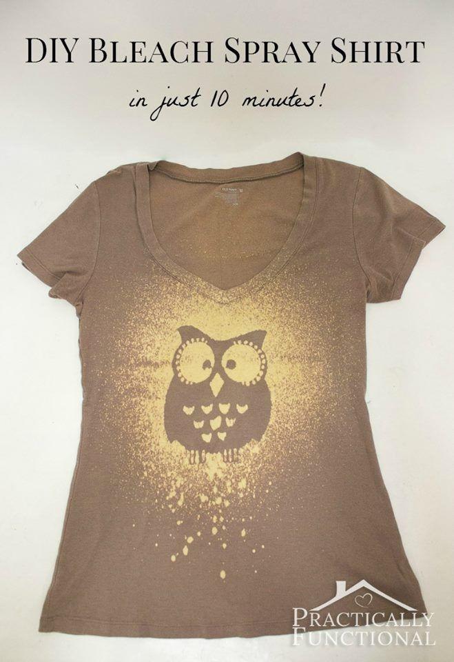 Make Your Own Bleach Spray Shirt   DIY Cozy Home Green shirt with a 4-H logo