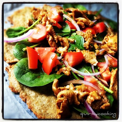 Quirky Cooking: Fajita Chicken & Salad Pizza on Quinoa & Chia Seed Flatbread