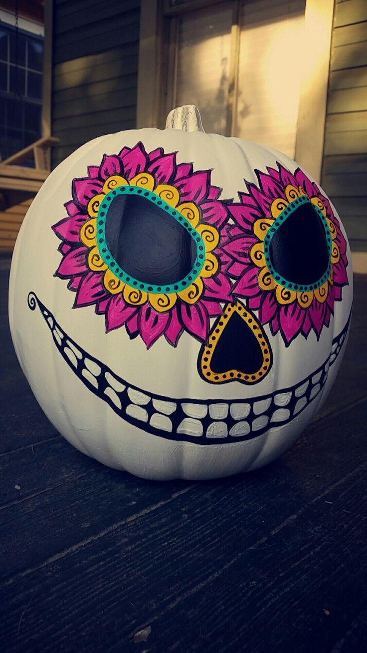 Halloween Sugar Skull Pumpkin DIY Painting Fall Dawn of Dead