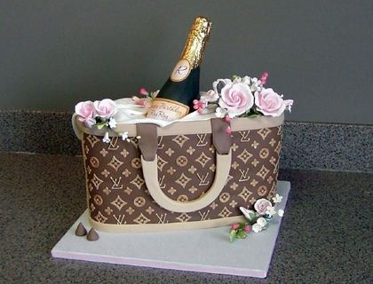 for 21st BD; purse is fondant with GP cut puts for logo; LV is piped royal; bottle half is molded green choc. Purse cake