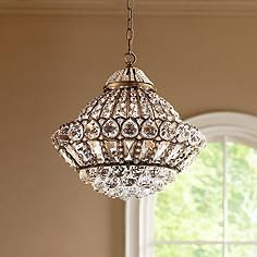 """Wallingford 16"""" Wide Antique Brass and Crystal Chandelier"""