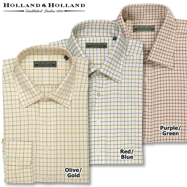The Tattersall Shirt by Holland & Holland comes in 3 great colors, and was specially made in Italy to provide the finest, softest cotton. Easy to match!