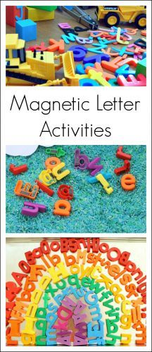 A collection of preschool alphabet activities using magnetic letters. Magnetic letters are a colorful, hands-on way for kids to learn about the alphabet!