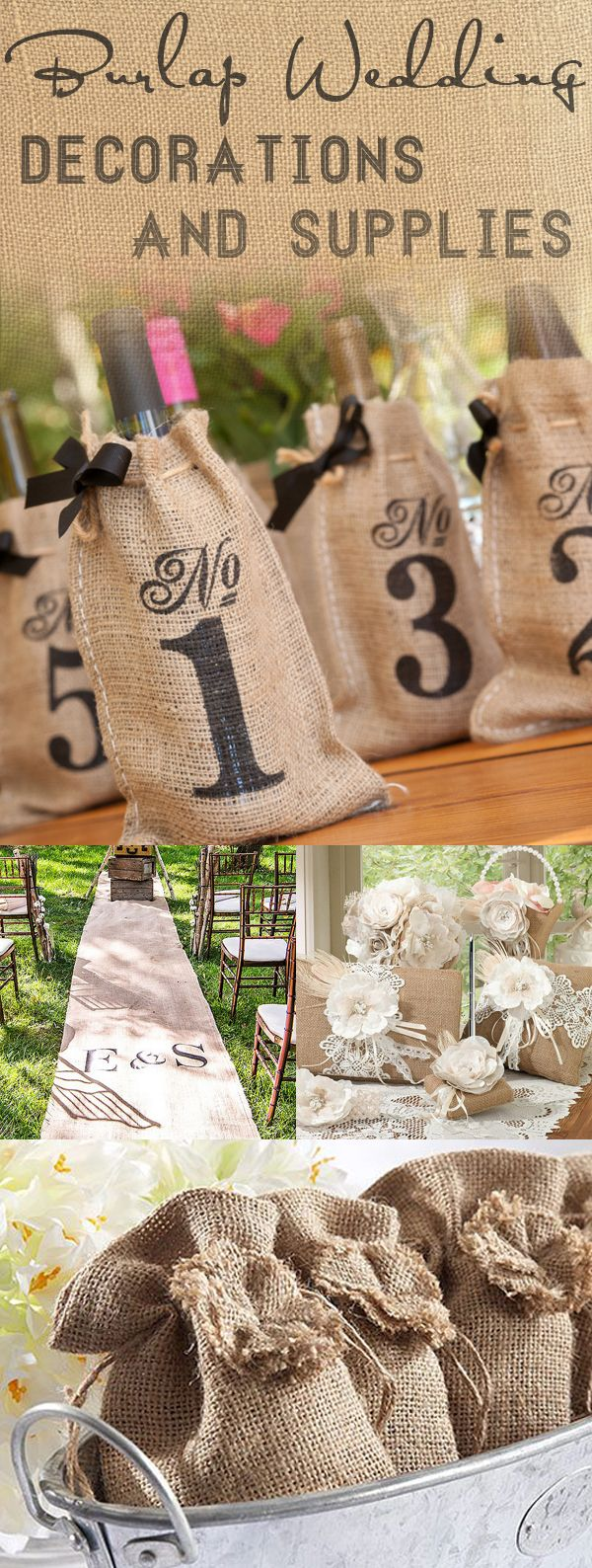 Find the perfect rustic inspiration for your wedding with these burlap wedding decorations and supplies. From table number wine bags to favor boxes and aisle runners, don't miss a single detail for your rustic or shabby chic wedding!