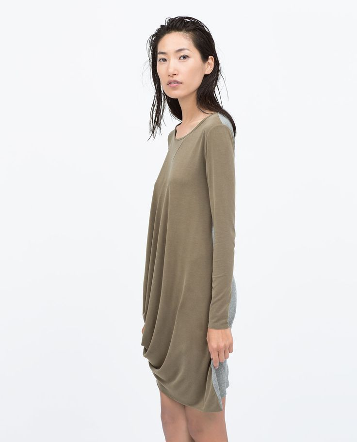ZARA - COLLECTION SS15 - COMBINED CUPRO DRAPED DRESS