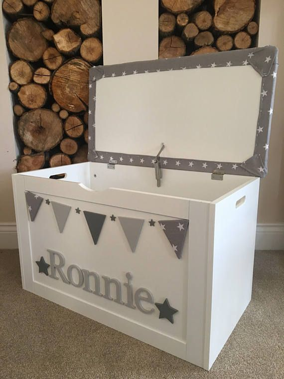 I Have For Sale Personalised Large Childrens Toy Box Hand Painted And Decorated With Wooden Letters An In 2020 Wooden Toy Boxes Childrens Toy Boxes Painted Toy Boxes
