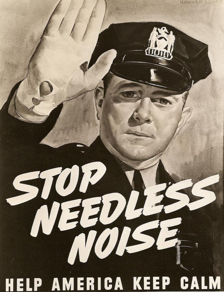 """Chicago Police and Noise Pollution Poster (1942) Mayor Edward J. Kelly proclaimed the week of May 31, 1942, """"Noise Abatement Week"""" in Chicago in order to bring the evils of needless noise to the attention of Chicago residents. Police Commissioner James P. Allman has had distributed throughout Chicago, striking posters directing attention against the noise."""