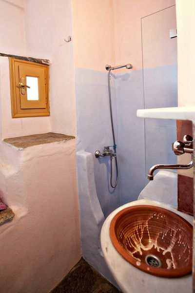 A bathroom with traditional island feeling will boost your #vacation mood! http://www.tinos-habitart.gr/yellow-house.php