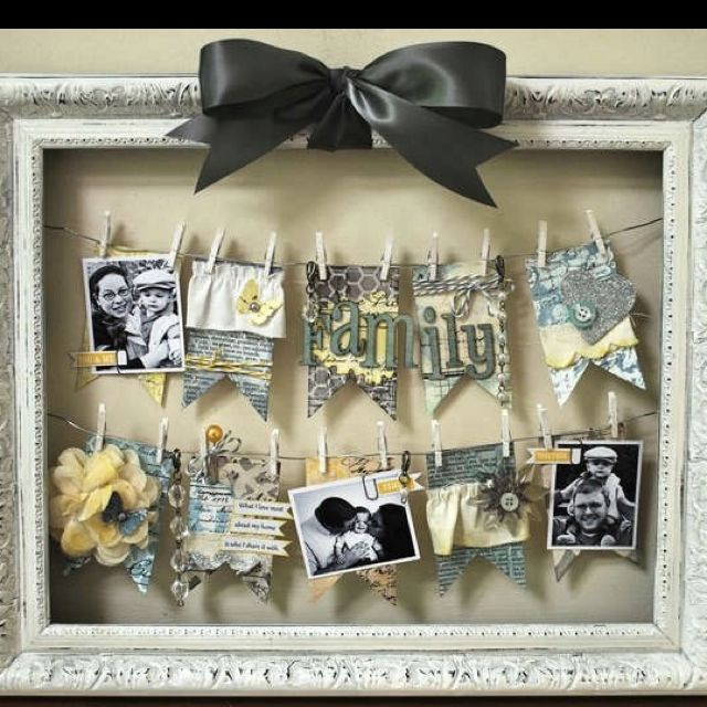 Love this! Make scrapbook photos..hang on line of string in frame. <3