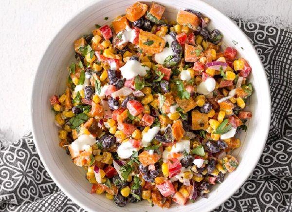 طريقة عمل سلطة البطاطا الحلوة للرجيم طريقة Recipe Salad With Sweet Potato Roasted Sweet Potatoes Rainbow Salad