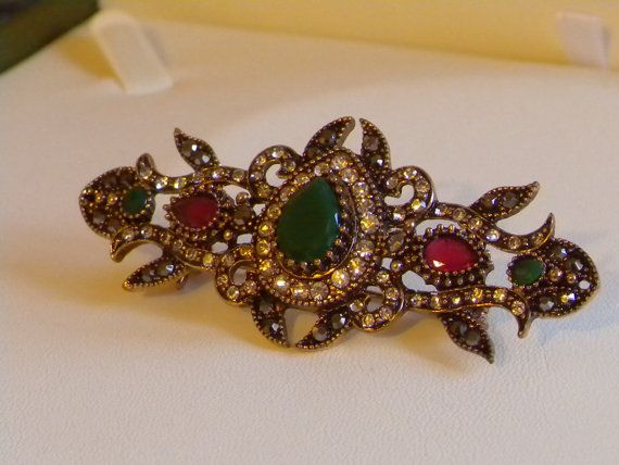 Vintage Antique style Brooch ,stick pin ,Victorian Gold Faux Emerald Ruby brooch,Bijoux collier broche,corsage pin brooch