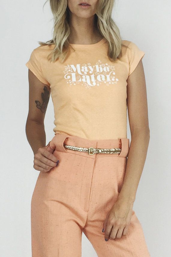 Hey, I found this really awesome Etsy listing at https://www.etsy.com/se-en/listing/456674042/maybe-later-deadstock-70s-peach-shirt