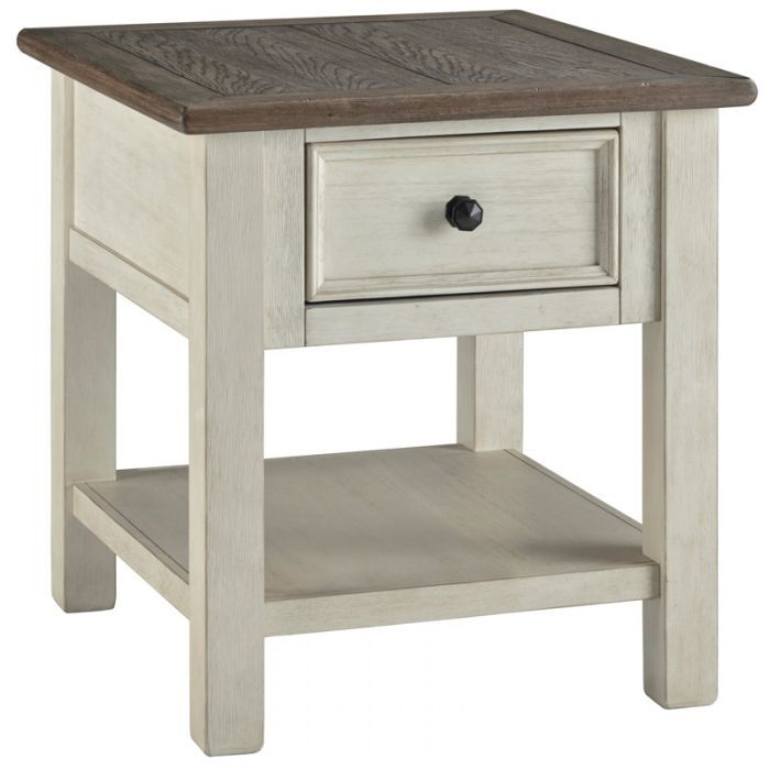 Bolanburg White And Brown End Table End Tables With Drawers Farmhouse End Tables Ashley Furniture