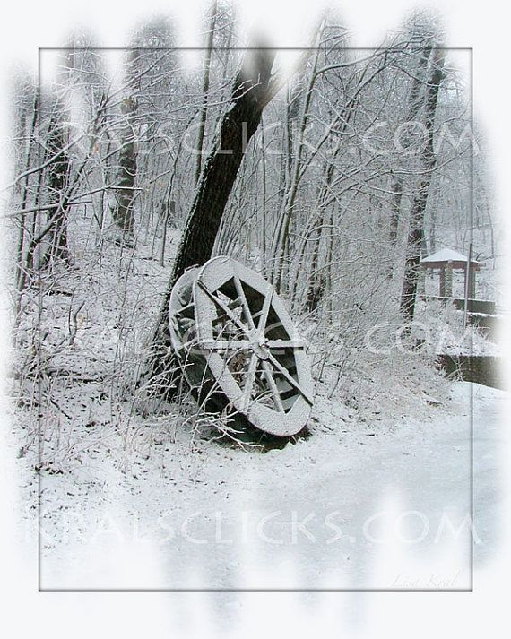 Snowy Photograph Winter Wheel fresh fallen snow by KralsClicks, $8.00