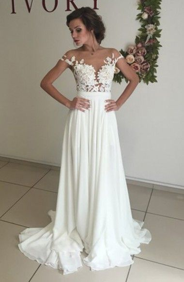 Elegant V-neck Cap Sleeves Sweep Train White Wedding Dress with Appliques Illusion Back