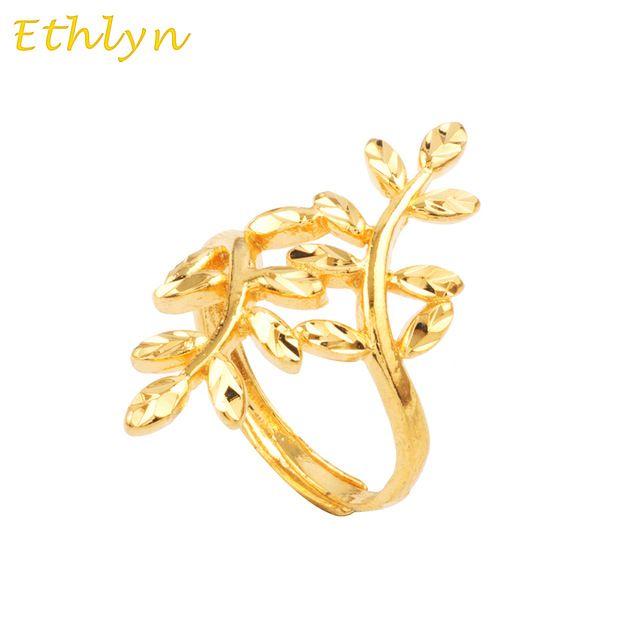 Ethlyn deixa as mulheres anel banhado a ouro de Noivado casamento anel de presente de Natal 24 k real banhado a ouro de ouro Redimensionável anel R036