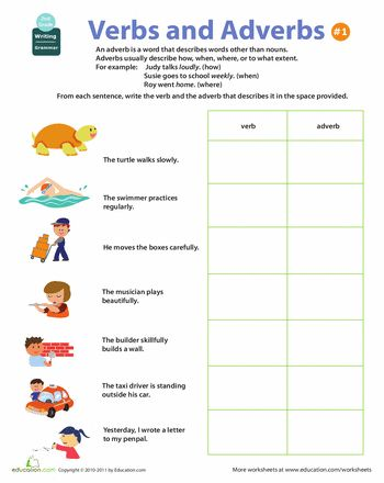 Worksheets: All About Adverbs: Verbs and Adverbs #1