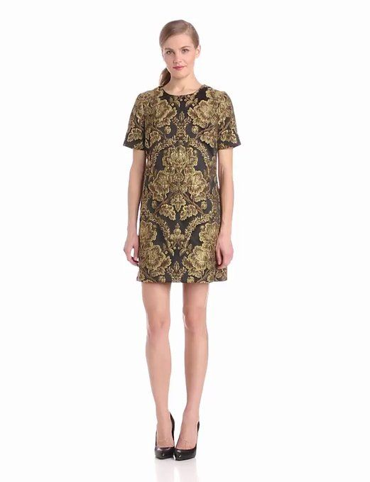 Amazon.com: Helene Berman Women's Brocade Dress, Gold/Black, Medium: Clothing