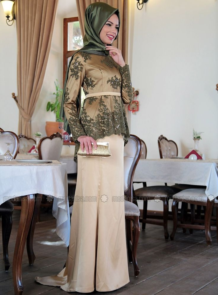 Mevra فستان سهرة - ياقة حاكمة - نسيج مبطن - كاكي
