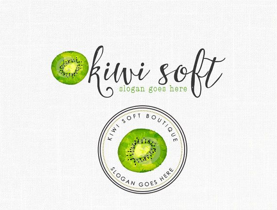 Kiwi Logo Design Fruits Logo Natural logo Watercolor logo