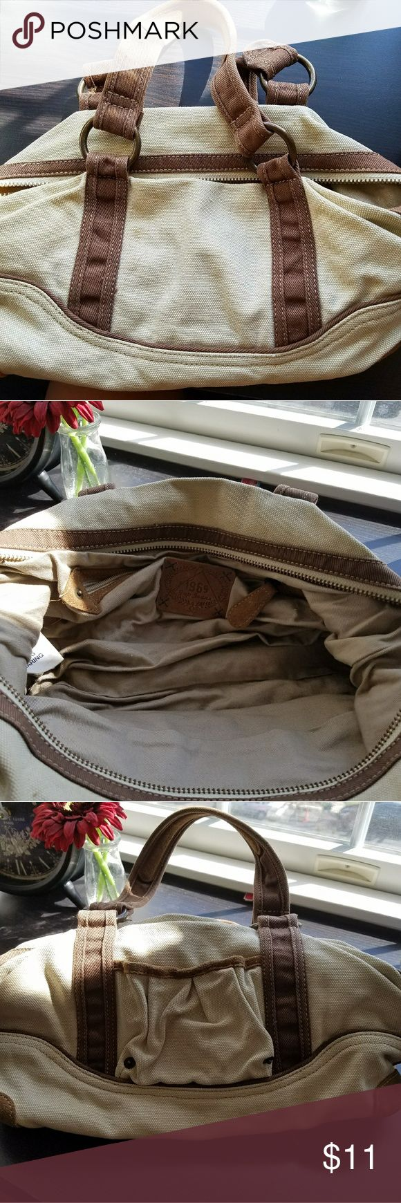 Gap Handbag Gap Tan Canvas Handbag with Brown Straps (15 Inches across) GAP Bags Shoulder Bags