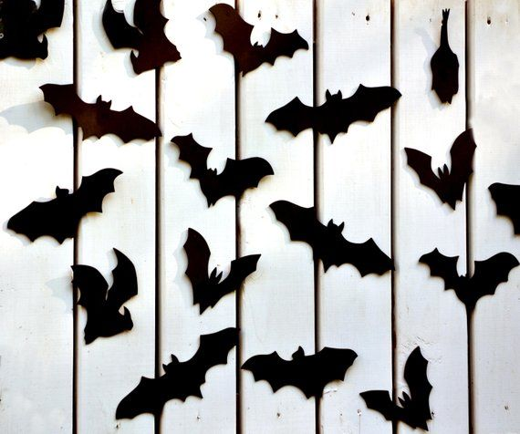 Bat Halloween Decoration 16 Bats Reusable Wall Decoration Etsy