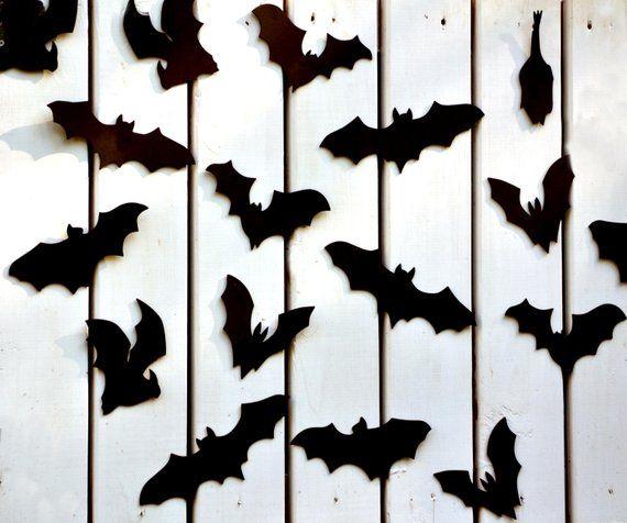 Bat Halloween Decoration 16 Bats Reusable Wall Decoration Etsy