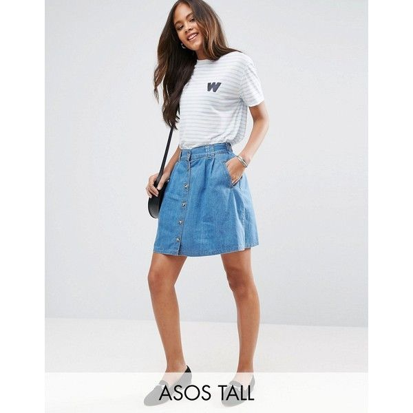 ASOS TALL Denim Button Front Mini Skater Skirt In Mid Wash Blue ($37) ❤ liked on Polyvore featuring skirts, mini skirts, blue, stretch mini skirt, denim mini skirt, skater skirt, high-waisted flared skirts and mini skater skirt
