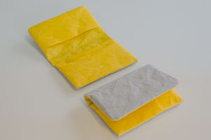 Business card case (bi-colour: Yellow x Gray) - made from Japanese WASHI paper - light yet strong - highly water-resistant and not easily torn