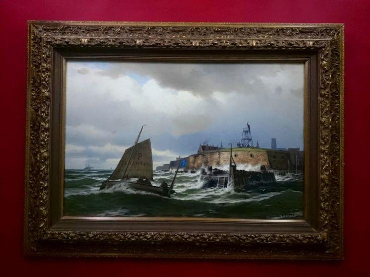 Obraz olejny Franz Herpel oryg 1850r - Marynistyka RARYTAS !!!