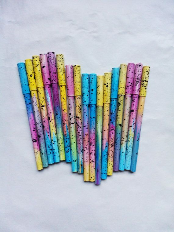 Original pen, galaxy pen, cute pen made from recycled paper, blue pink yellow, sweet, acrylic painting, eco, cute idea for gift, boho style #galaxy #pen #stars #cosmos #handmade #recycled #paper #gift #idea #original #art #acrylic #painting #blue #yellow #pink #bohochic #bohemian