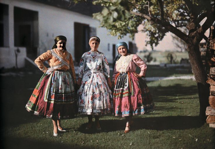 Portrait of three peasant women in traditional clothing on a farm in Hungary, 1930. Photograph by Hans Hildenbrand, National Geographic